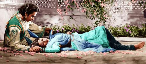 Dilip Kumar on the set of Mughal-e-Azam