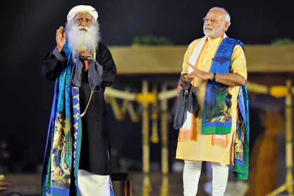 Prime Minister Modi with Sadhguru Jaggi Vasudev during the unveiling function