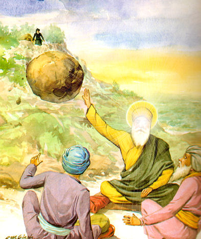 Guru Nanak simply raised his hand and stopped the rock