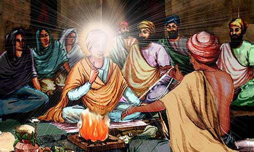 Janeoo ceremony - Guru Nanak Dev Jee explains to the Pandit about true Janeoo